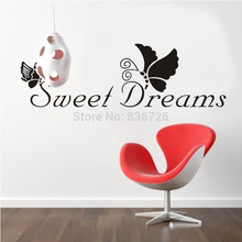 Free Shipping Newly 2016 Sweet Dream Butterfly Wall Stickers Home Decor Bedroom Accessories Cartoon Posters