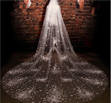 Ivory 3.5M Length Three Meters Width 3.5m*3m Two Layer Sequins Lace Wedding Veil Long Bridal Veil With Flowers