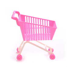 1Pc New Pink Plastic  Creative Mini Children Handcart Simulation Supermarket Shopping Cart Model Novelty Toys Decor Gifts