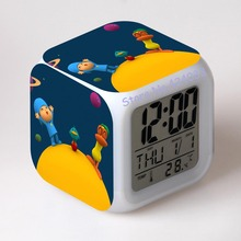 Pocoyo LED 7 colors digital alarm clock thermometer night colorful glowing toys time day date month(China)