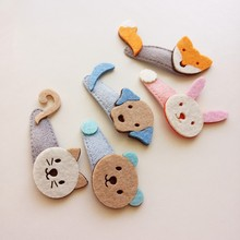 New children's hairpin cat rabbit fox dog bear cute hair clip Non Woven Fabric lovely girls barrettes hair accessories hairgrips(China)