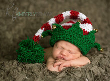 Free shipping cute Christmas baby hat Long tail elf hat handmade crochet newborn photography props - little bell decoration