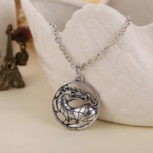 Online Game Mortal Kombat Vintage silver color Plated Dragon Pendant Necklace Women Men Jewelry Collares COCO748(China)