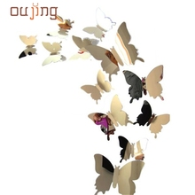 Hot Sale DIY  Wall Stickers Decal Butterflies 3D Mirror Wall Art Home Decors dropshipping wholesale 17feb28