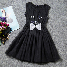 Cute Summer Baby Kitty Black Dress For Girl 6 Years Cat Pattern Tutu Kids Party Dresses For Girl Children Clothing School Dress