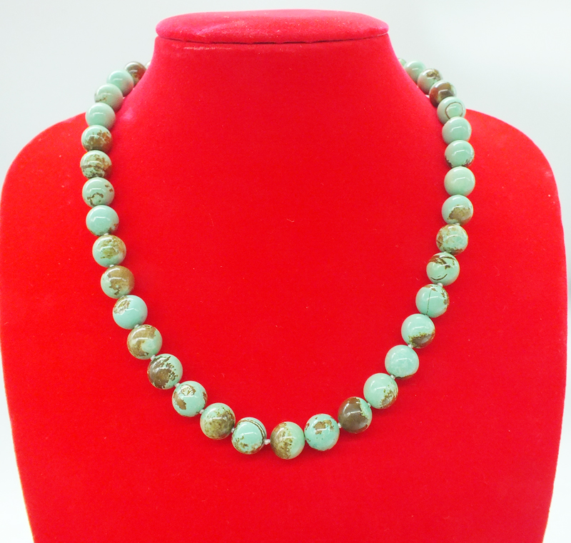 Free shipping, 100% natural Turkish stone. 10MM necklace 17 inches
