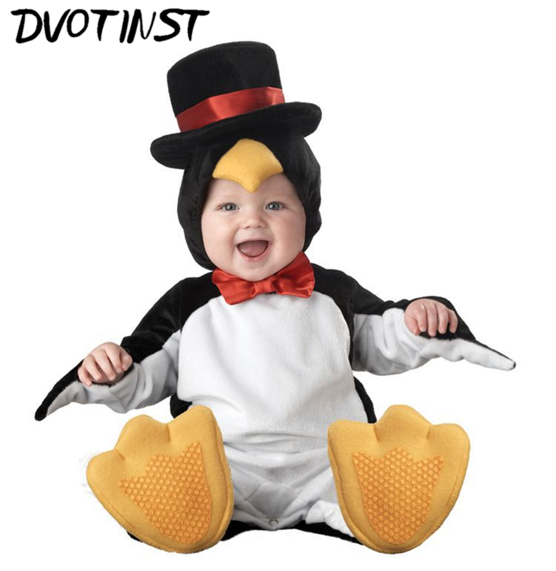 Baby Children Kid Halloween Party Cosplay Jumpsuit Animals Penguin Costume Romper+Hat+Socks Set Outfit Infantil Toddler Clothing<br>