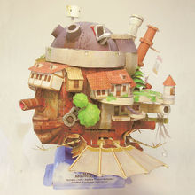 Howl's Moving Castle Fun 3d Paper Diy Miniature Model Kit Puzzle Toy Children Educational New Year Christmas Gifts Boy Splicing(China)