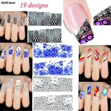 AddFavor 1PC Animal Feather Pattern Nail Art Decal Sticker Water Transfer Fingernail Foil Manicure Decoration Nail Art Stickers(China)