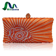 Milisente Fashion Women Clucth Bag Rose Flower Lady Gold Pink Wedding Party Clutch