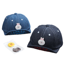 Fashion Denim Baby Hat with Detachable Cartoon Icon Adjustable Infant Baby Baseball Cap for 4-12 Months 1 PC
