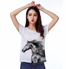 Track Ship+New Vintage Retro T-shirt Top Tee Strong Pen Drawing Wild Horse 1314(Hong Kong)