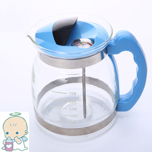 Temperature adjustable glass milk mug for babies with thermometer