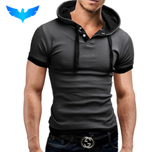 QINGYU Male Tops 2017 Short Sleeve T Shirt Men T-Shirt Camisetas Hooded Fake Two Solid Color Design Hombre Tee Shirt Homme(China)