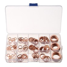 MTGATHER 150PCs Solid Copper Washers Sump Plug Assorted Washer Set Plastic Box 15 Sizes Great Fuel And Hydraulic Fittings(China)