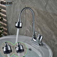 Chrome Brass Two Sprayer Nozzle Kitchen Sink Faucet Deck Mount Single Handle Bathroom Hot and Cold Water Taps