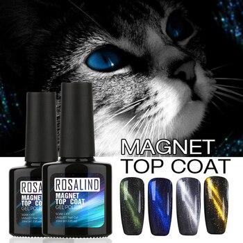 ROSALIND 10 МЛ Cat Eyes Отделка UV Гель Для Ногтей Top Coat Хамелеон магнит УФ Ногтей Гелем Польский Горячая 6 Стиль Магнитного Top Coat