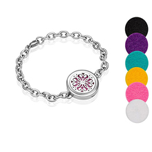 Essential Oil Diffuser Bracelet, Stainless Steel Perfume Locket Fragrance Jewelry with Free Pads Chrysanthemum Flower Pattern(China)