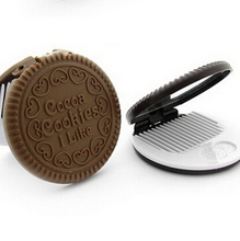 1PCS Cute Chocolate Cookie Shaped Mirror Makeup Make Up Mirrors With Comb Girls Women Mini Pocket Mirrors