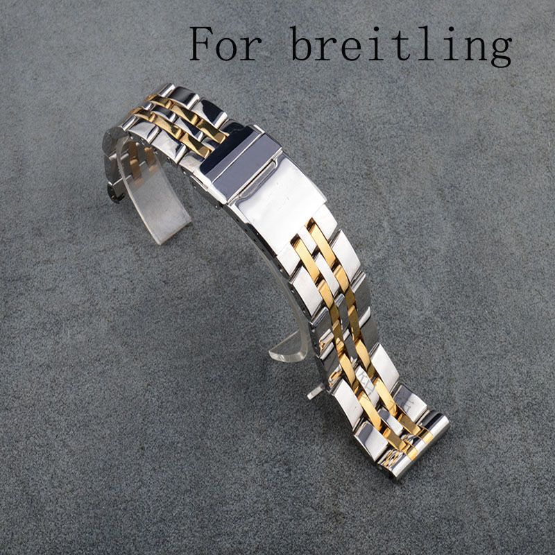 Luxury Brands,22MM New Mens full stainless steel butterfly metel clasp waterproof Strap for Breitlin gwatch With LOGO<br>