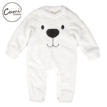Baby Girls Boys Rompers Cute Cartoon Bear Autumn Winter Coral Cashmere Fleece Jumpsuit Warm Outerwear Kids Soft Thicken Clothing