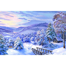 5d diy diamond embroidery painting cross stitch landscape Rhinestone winter scenery pattern diamond mosaic P77(China)