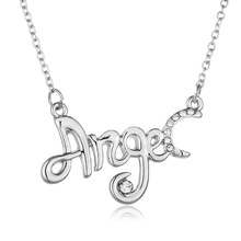 Drop shipping Fashion ANGEL Necklace of White&Pink Crystal letters Pendant Neclace Jewelry Best Gift For Women Ladies and Girls(China)
