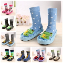 ROMIRUS Winter Baby Boy Girl Children Socks Anti Slip Newborn Animal Cartoon Slippers Boots Soft Leather Soled Indoor Socks