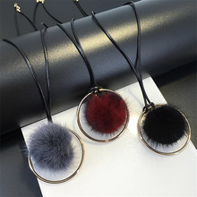 New Round Metal Circle Black Grey WindRed Mink Hair Ball Pendant Necklace Long Necklaces In Pendant Nacklace For Women Jewelry(China)