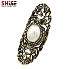 SHIJIE Vintage Punk Long Rings for Women Lovely Retro Bronze color Anillos Hollow Simulated Pearl Ring Men Fashion Jewelry Gifts