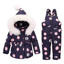 Mioigee Baby Girls Boys Winter Outdoor Clothes Sets Thick Windproof Kids Coats snow wear floral print jacket+skiing pants(China)