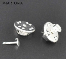200Sets Silver Plated Tie Tac Pad &Tie Squeeze Pins & Brooches Clutch Cabochon Base Settings
