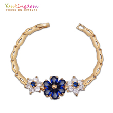 Austrian crystal chain link bracelets & bangles female blue cubic zirconia gold-color jewelry K1908