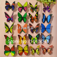 Free Shipping 100X 12CM 3D Artificial Butterfly Decorations Magnets Craft Fridge Room Wall Decor