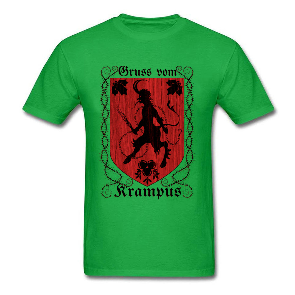 Greetings From Krampus Mens Tshirt Fitted Normal Tops Shirt ostern Day Cotton Fabric Round Collar Tee Shirts Short Sleeve Greetings From Krampus green