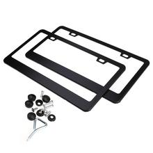 2 pcs Stainless Steel Car License Plate Frame Set with Screw Caps for U.S. Canada License Plate (Black)(China)