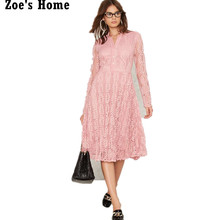 New European 2017 Summer Women's Lace Crochet Long Dresses Femme Casual Slim Clothing Pink Office Work Wear Dresses