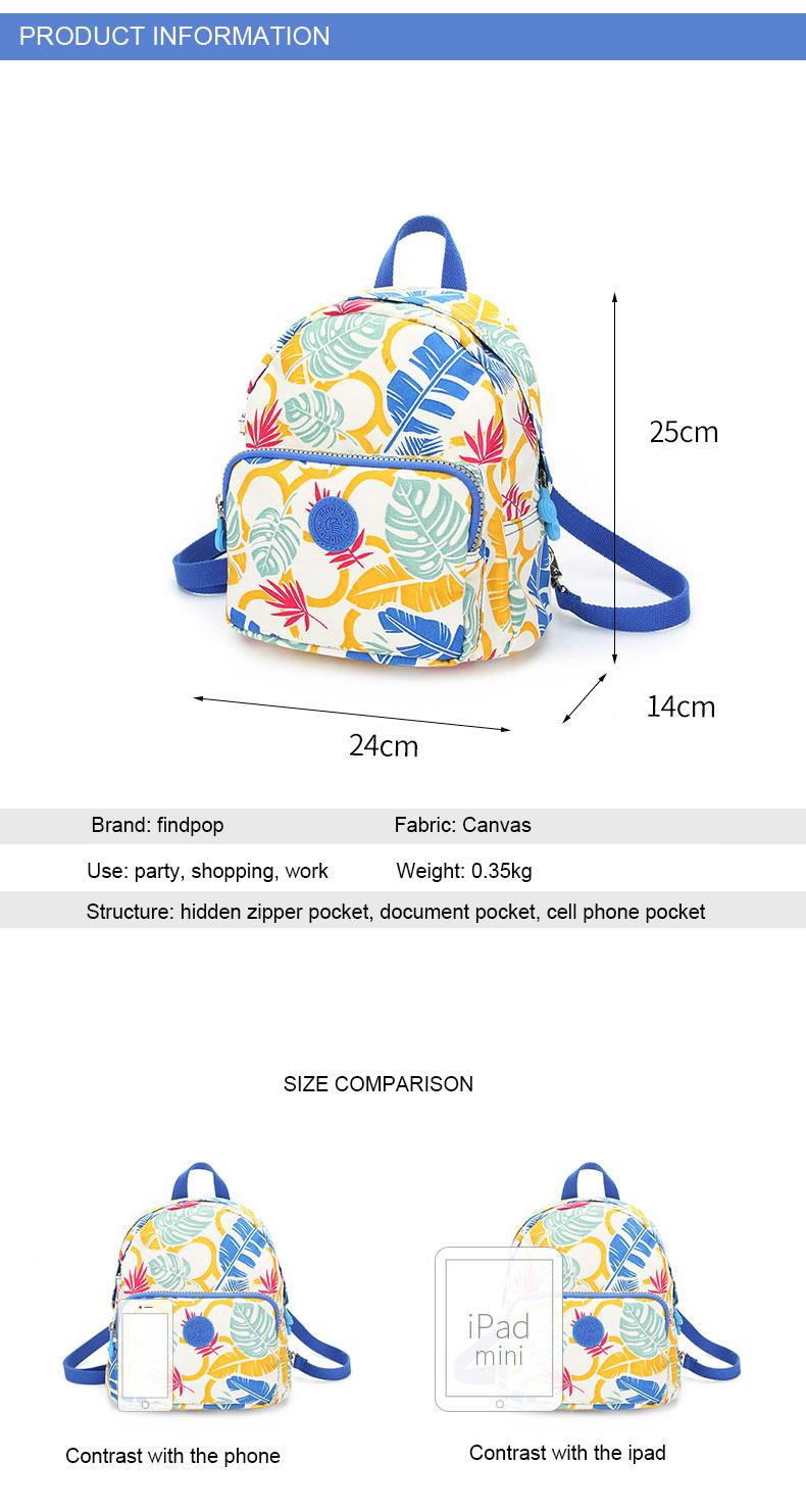 Findpop Mode Casual Sac À Dos Femmes 2018 Nouveau Étanche Mini Sac À Dos Pour Femmes Toile Floral Imprimé Petit Sac À Dos Pour Filles 13