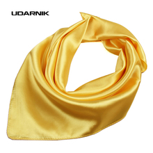 Unisex Satin Solid Plain Color Mini Scarf Men Women Square Neckerchief Small Wrap 60cm 038-434 D