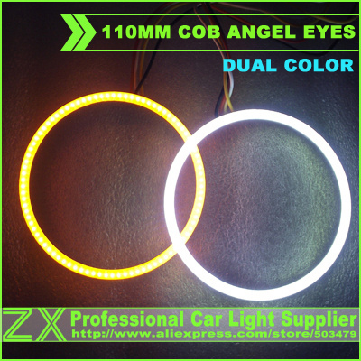 12V to 24V universal fits  110mm car cob led angel eyes light halo ring 10 pairs dual color drl for e39 e46 a4 a6 mazda 5  6<br><br>Aliexpress