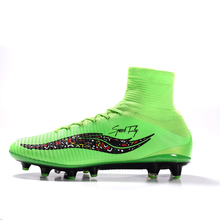 New Arrival Football Boots For Men Superfly Soccer Shoes AG Green Black High Ankle Top Quality Outdoor Training Cleats Sneakers(China)