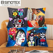 43*43cm New Print Style Color Skulls Cushions Linen Cushion Cover Family Badges Throw Pillow For Living Room Bed Room 1 Pcs