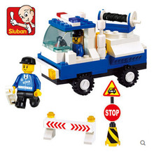 Sluban M39-B900 Action & Toy Figures Child Assembly DIY Educational City Police Wrecker Car Building Blocks Child Toy Bricks(China)