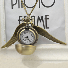Buy HOMOD Vintage Mini Harry P Silver Snitch Ball Pocket Watch Necklace Chain Pendant Wings Smooth Quartz Watch Pocket Gifts for $2.49 in AliExpress store