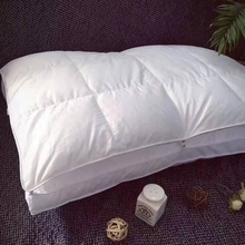 Double-deck button Sleep pillow for bed,1pc goose down+microfiber filler,soft neck pillow,white solid color bedding 48x74cm(China)
