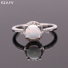 GZJY Beautiful Simple Round Jewelry White Fire Opal Wedding Ring White Gold Color Ring For Women Bridal Engagement Finger Ring