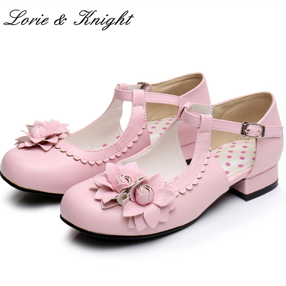 Women Elegant Mary Jane Shoes Low Heel PU Leather Jasmine Flower Decor Sweet Lolita Shoes Princess Girl Shoes<br>