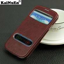 luxury original leather case For Samsung galaxy s 3 i9300 / s3 mini i8190 Open Window View flip phone stand bag coque cover