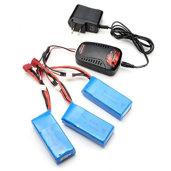 Syma X8C X8W X8G X8HC X8HW X8HG RC Quadcopter 3x 7.4V 2000mAh Battery +1 to 3 Balance Charger + US Plug Charger<br>