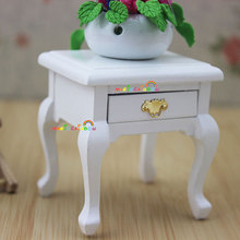 Bed Side Table Cabinet  w/Drawer for Bedside Lamp White Dollhouse Miniatures 1:12